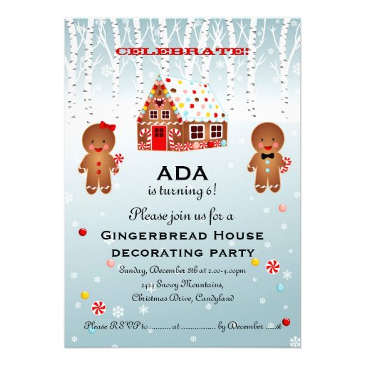 Gingerbread house decorating birthday invitation Gingerbread house decorating party invitations