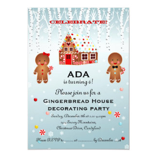 Gingerbread House Decorating Birthday Invitation