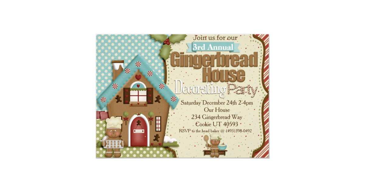Gingerbread house decorating party invitation zazzle Gingerbread house decorating party invitations