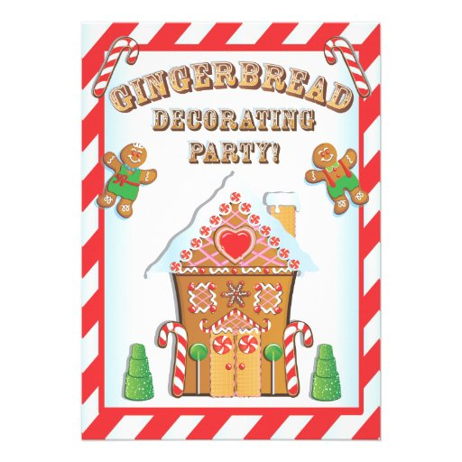 Gingerbread house decorating party invitations 5 x 7 Gingerbread house decorating party invitations