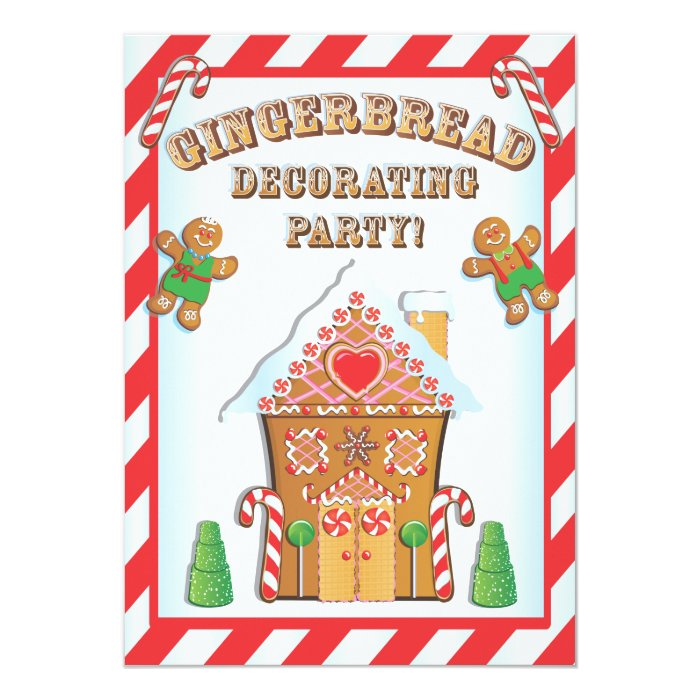 Gingerbread house decorating party invitations zazzle Gingerbread house decorating party invitations