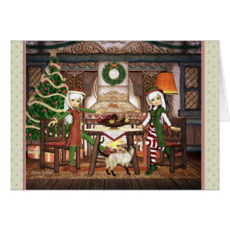 Gingerbread House Elves Holiday Card