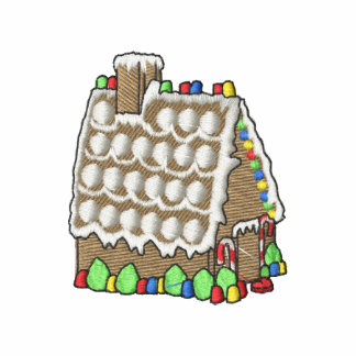 Gingerbread House Embroidered Polo Shirt
