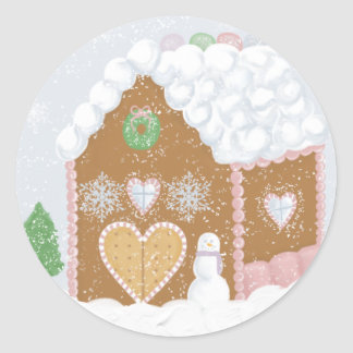 Gingerbread House Envelope Seals Classic Round Sticker
