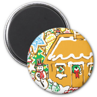 Gingerbread House Frosted Cookies Christmas Scene 2 Inch Round Magnet