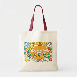 Gingerbread House Frosted Cookies Christmas Scene Budget Tote Bag