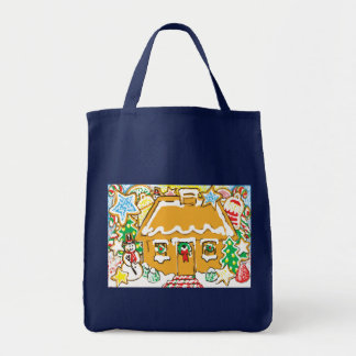 Gingerbread House Frosted Cookies Christmas Scene Grocery Tote Bag