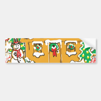 Gingerbread House Frosted Cookies Christmas Scene Bumper Stickers