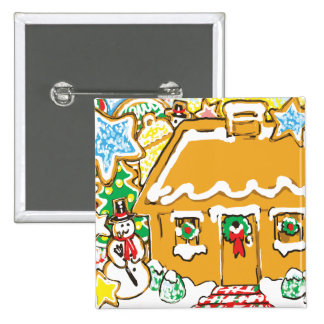 Gingerbread House Frosted Cookies Christmas Scene Pins