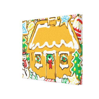 Gingerbread House Frosted Cookies Christmas Scene Gallery Wrapped Canvas