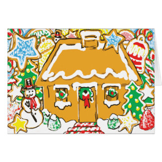 Gingerbread House Frosted Cookies Christmas Scene Greeting Card