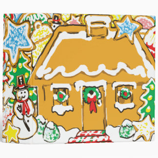 Gingerbread House Frosted Cookies Christmas Scene Carpeta 2""