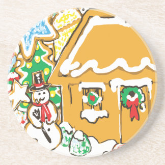 Gingerbread House Frosted Cookies Christmas Scene Coaster