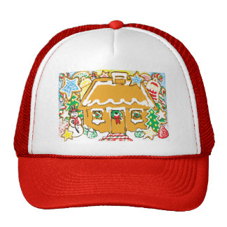 Gingerbread House Frosted Cookies Christmas Scene Hat