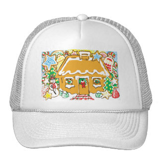 Gingerbread House Frosted Cookies Christmas Scene Trucker Hat