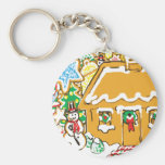 Gingerbread House Frosted Cookies Christmas Scene Keychain