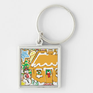 Gingerbread House Frosted Cookies Christmas Scene Silver-Colored Square Keychain