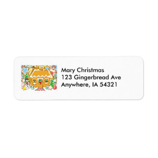 Gingerbread House Frosted Cookies Christmas Scene Return Address Label