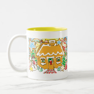 Gingerbread House Frosted Cookies Christmas Scene Coffee Mug
