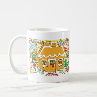 Gingerbread House Frosted Cookies Christmas Scene Coffee Mugs