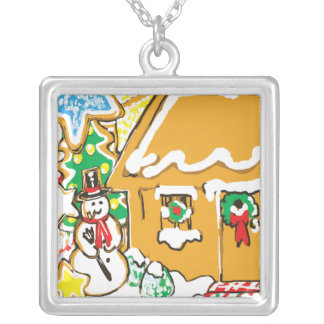 Gingerbread House Frosted Cookies Christmas Scene Square Pendant Necklace