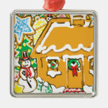 Gingerbread House Frosted Cookies Christmas Scene Christmas Tree Ornaments