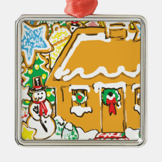Gingerbread House Frosted Cookies Christmas Scene Square Metal Christmas Ornament