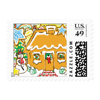 Gingerbread House Frosted Cookies Christmas Scene Postage Stamp