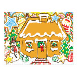 Gingerbread House Frosted Cookies Christmas Scene Postcard