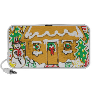 Gingerbread House Frosted Cookies Christmas Scene Speakers