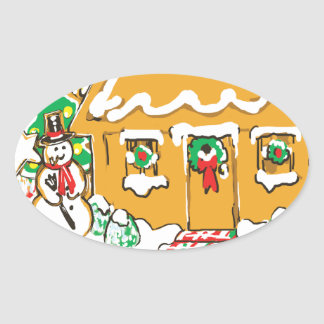 Gingerbread House Frosted Cookies Christmas Scene Oval Sticker