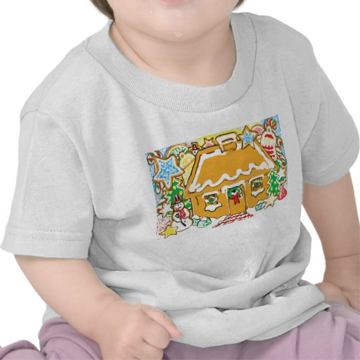 Gingerbread House Frosted Cookies Christmas Scene T-shirts