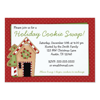 """Gingerbread House Holiday Cookie Swap Invitations 5"""" X 7"""" Invitation Card"""