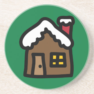 Gingerbread House Holiday Icons Cartoon Coaster