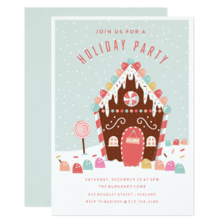 Gingerbread house invitations announcements zazzle Gingerbread house decorating party invitations