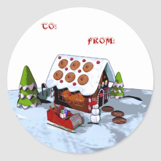 Gingerbread house Holiday Sticker Gift Tags