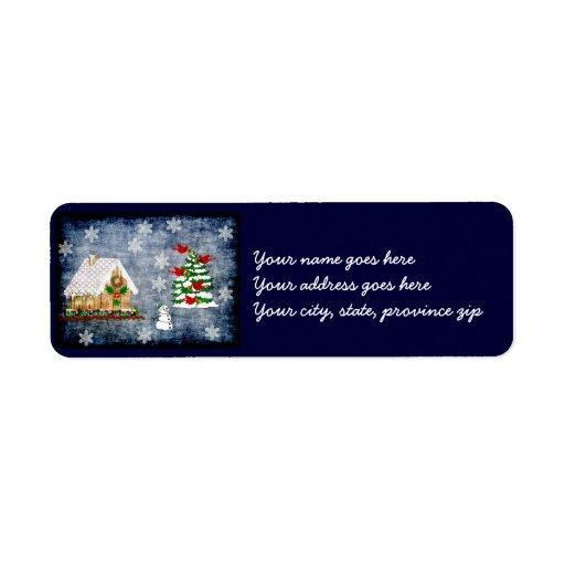 Gingerbread House In Snow Custom Return Address Labels