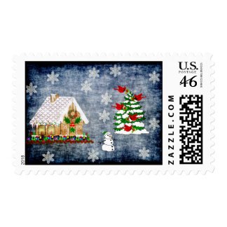 Gingerbread House In Snow Postage Stamps