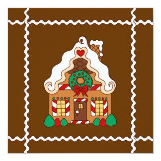 """Gingerbread House Invitation 5.25"""" Square Invitation Card"""