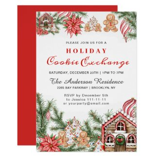 Gingerbread House, Man Holiday Cookie Exchange Invitation