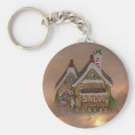 Gingerbread House Porcelain Basic Round Button Keychain
