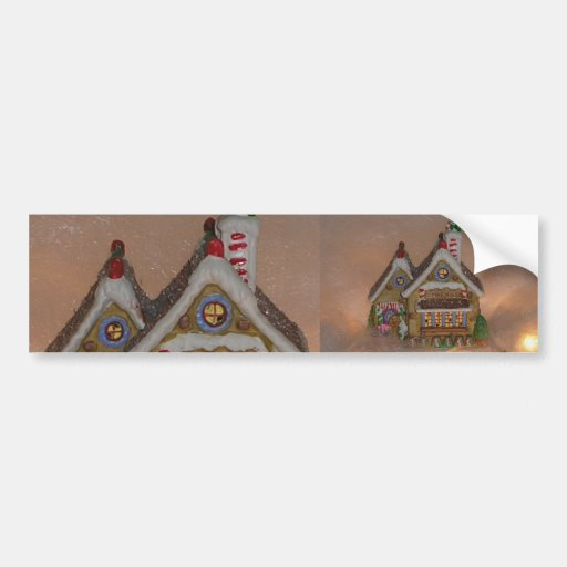 Gingerbread House Porcelain Car Bumper Sticker