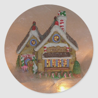 Gingerbread House Porcelain Classic Round Sticker
