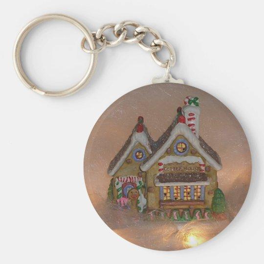 Gingerbread House Porcelain Keychain
