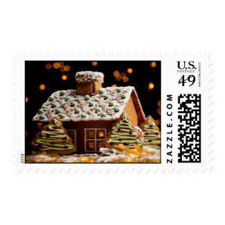 Gingerbread house postage