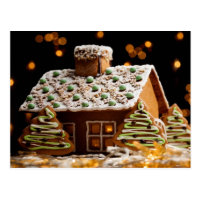 Gingerbread house postcard