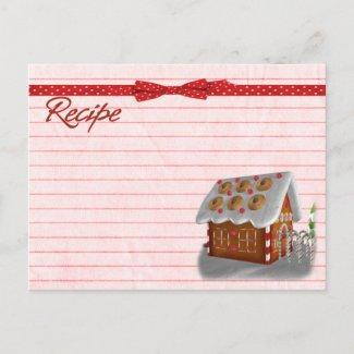 Gingerbread house recipe card postcard postcard