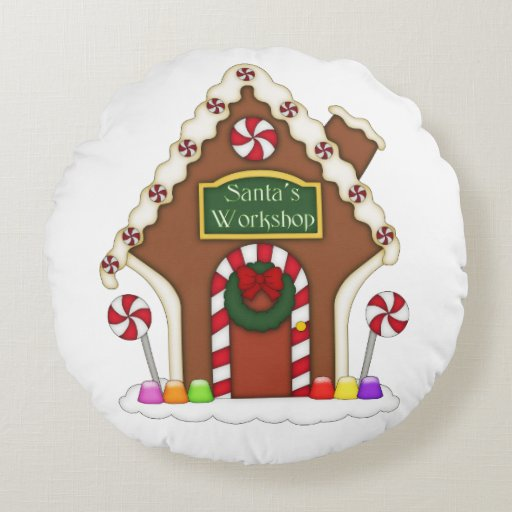 Zazzle Gingerbread House Round Pillow