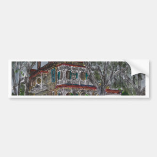 gingerbread house Savannah Georgia art painting Bumper Sticker