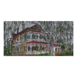 gingerbread house Savannah Georgia art painting Card